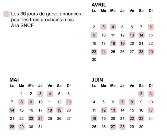 Фото: Календарь забaстовок grève SNCF на май-июнь